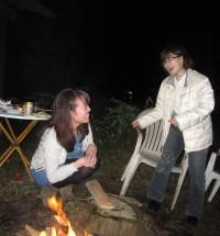 たき火と懐かしいスタッフ